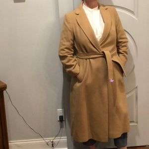 Vintage Fleurette camel winter trench coat.